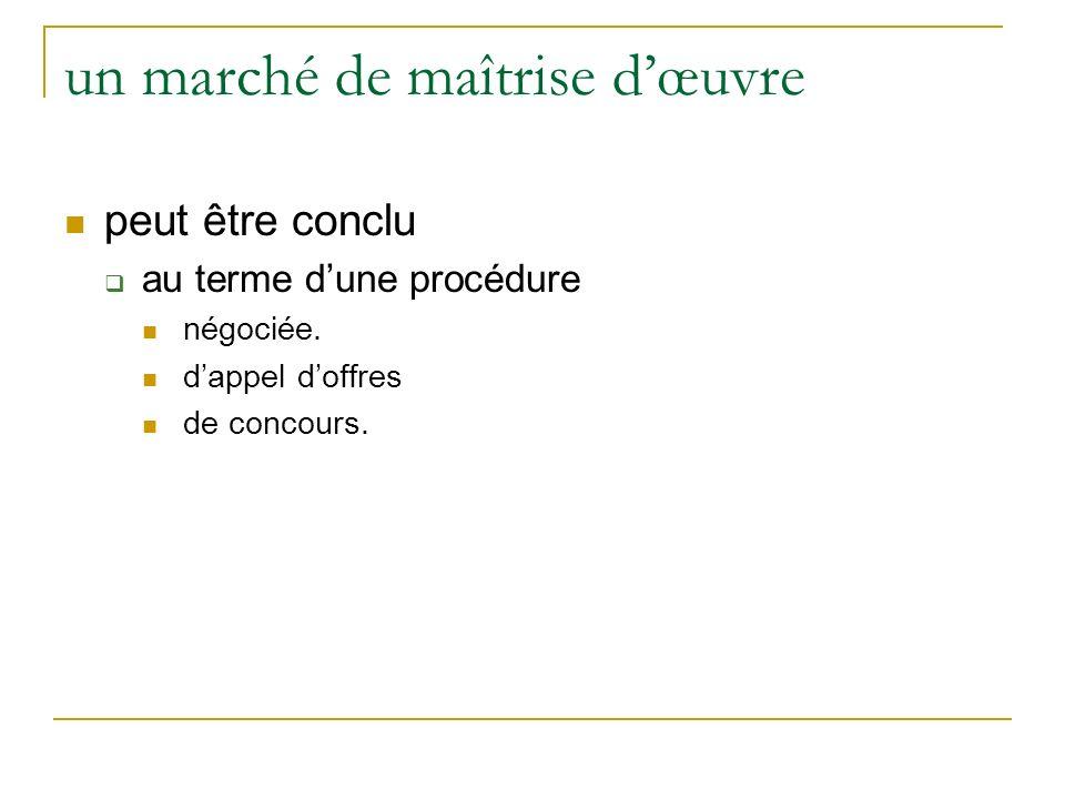 un marché de maîtrise dœuvre peut être conclu au terme dune procédure négociée.