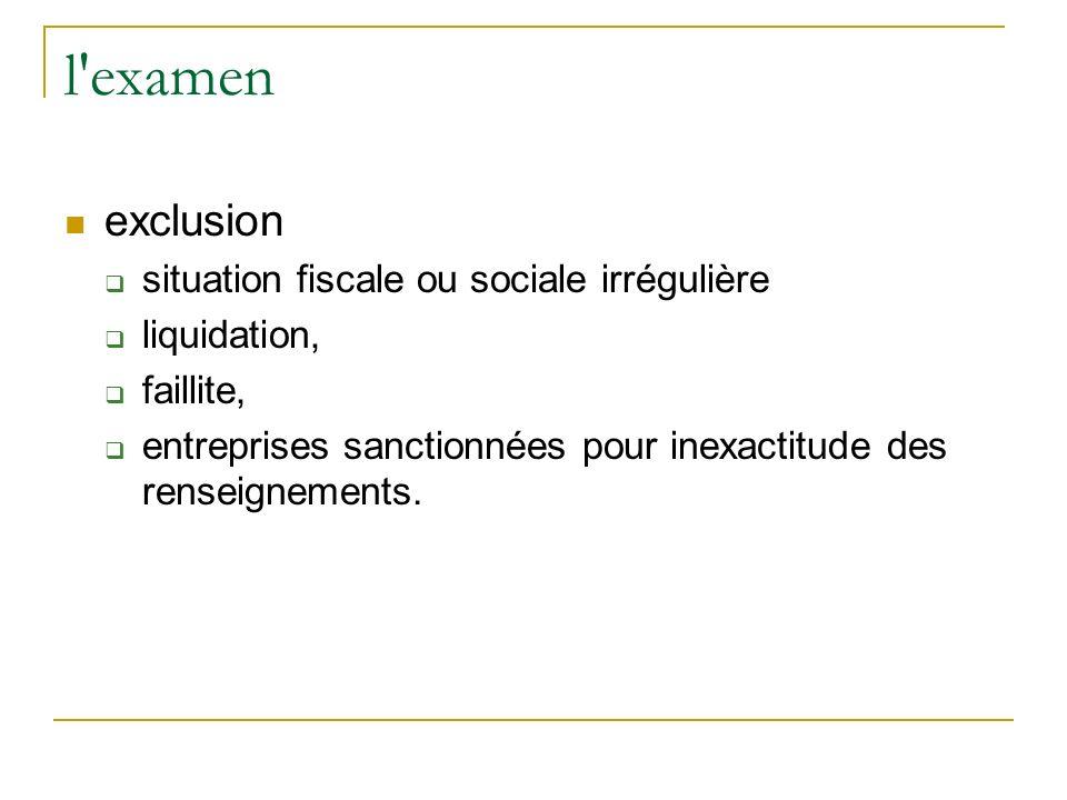 l examen exclusion situation fiscale ou sociale irrégulière liquidation, faillite, entreprises sanctionnées pour inexactitude des renseignements.