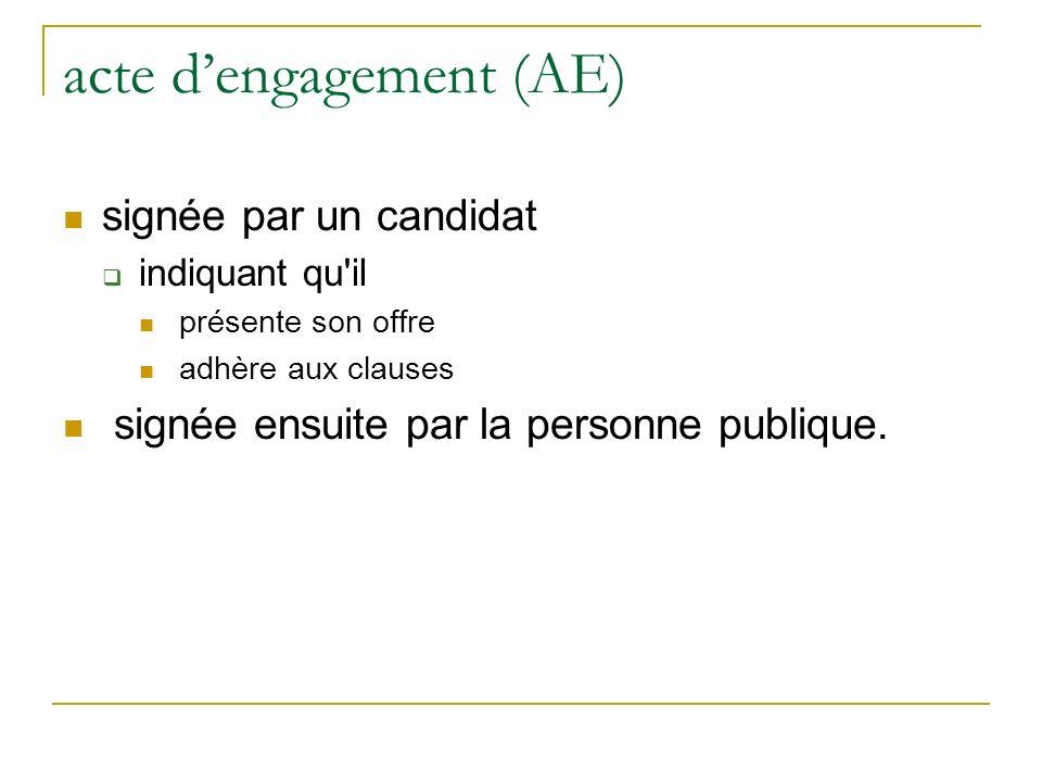 acte dengagement (AE) signée par un candidat indiquant qu il présente son offre adhère aux clauses signée ensuite par la personne publique.