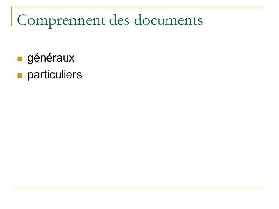 Comprennent des documents généraux particuliers