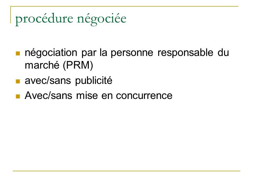 procédure négociée négociation par la personne responsable du marché (PRM) avec/sans publicité Avec/sans mise en concurrence