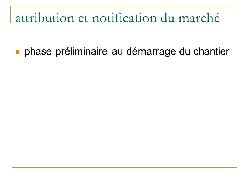 attribution et notification du marché phase préliminaire au démarrage du chantier