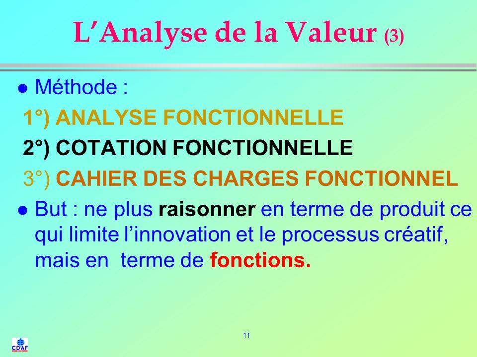 10 LAnalyse de la Valeur (2) l OBJECTIF : l Ne laisser subsister dans un produit, que ce qui contribue à rendre un service utile au client, et supprim