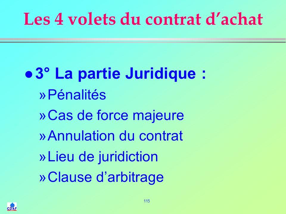 114 Les 4 volets du contrat dachat l 2° La partie technique : »Spécification technique »Cahier des charges fonctionnel »Références normalisées »Condit