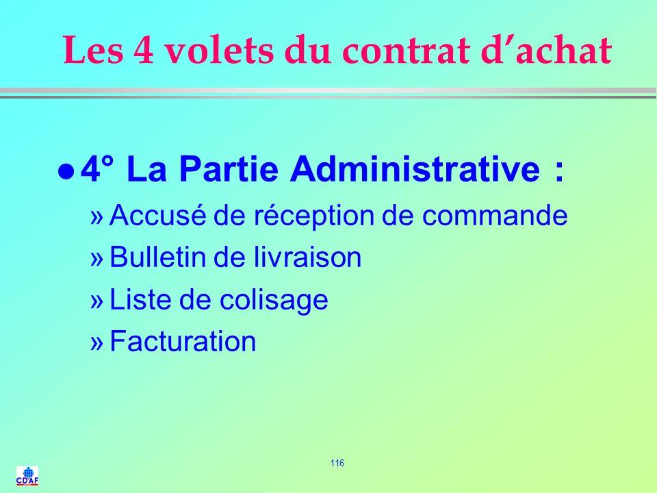 115 Les 4 volets du contrat dachat l 3° La partie Juridique : »Pénalités »Cas de force majeure »Annulation du contrat »Lieu de juridiction »Clause dar