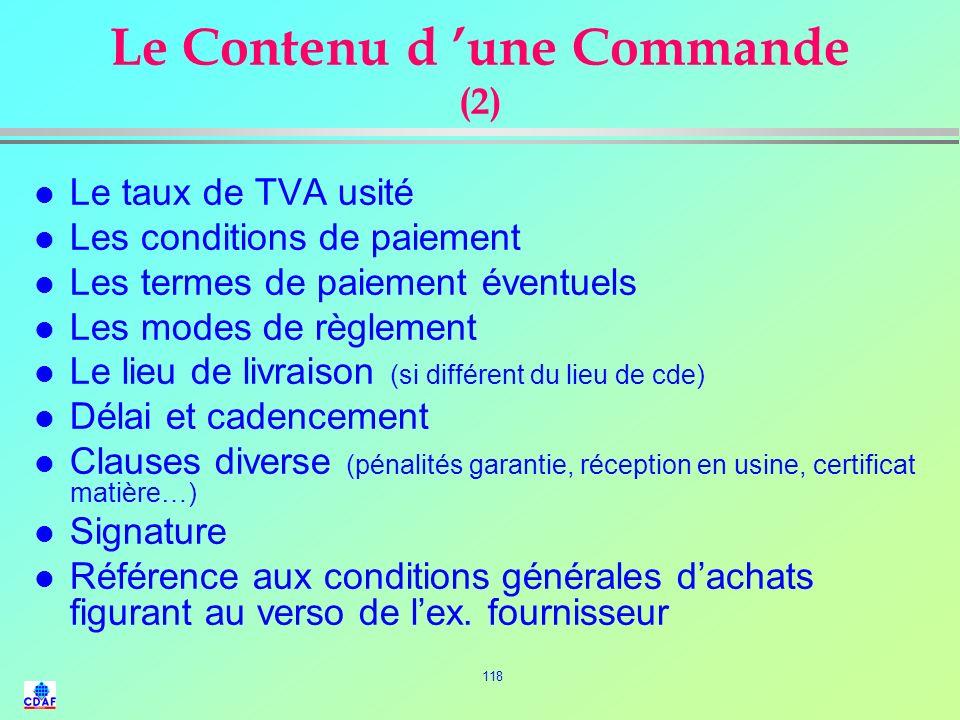 117 Le Contenu dune Commande (1) l Nom et adresse du fournisseur l Référence de loffre l Date et N° de la commande l Désignation complète du produit (