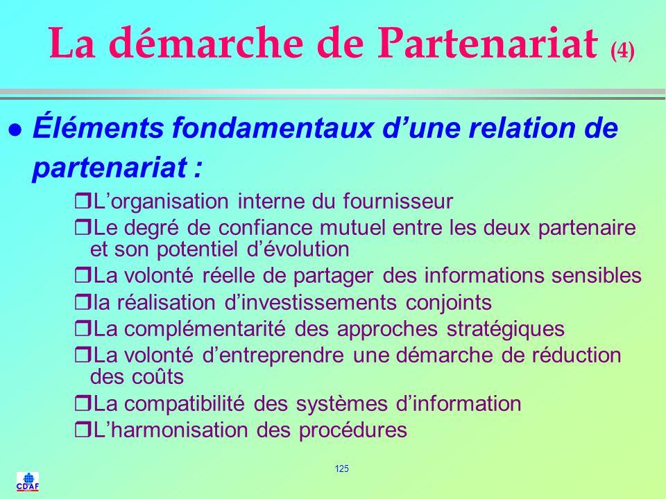 124 La démarche de Partenariat (3) q LE LONG TERME : ` Collaboration entre 3 et 5 ans ` Absolument indispensable pour apprendre à se connaître, se par