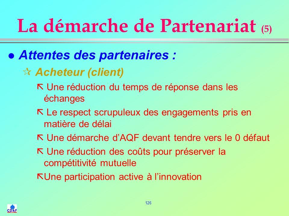 125 La démarche de Partenariat (4) l Éléments fondamentaux dune relation de partenariat : rLorganisation interne du fournisseur rLe degré de confiance