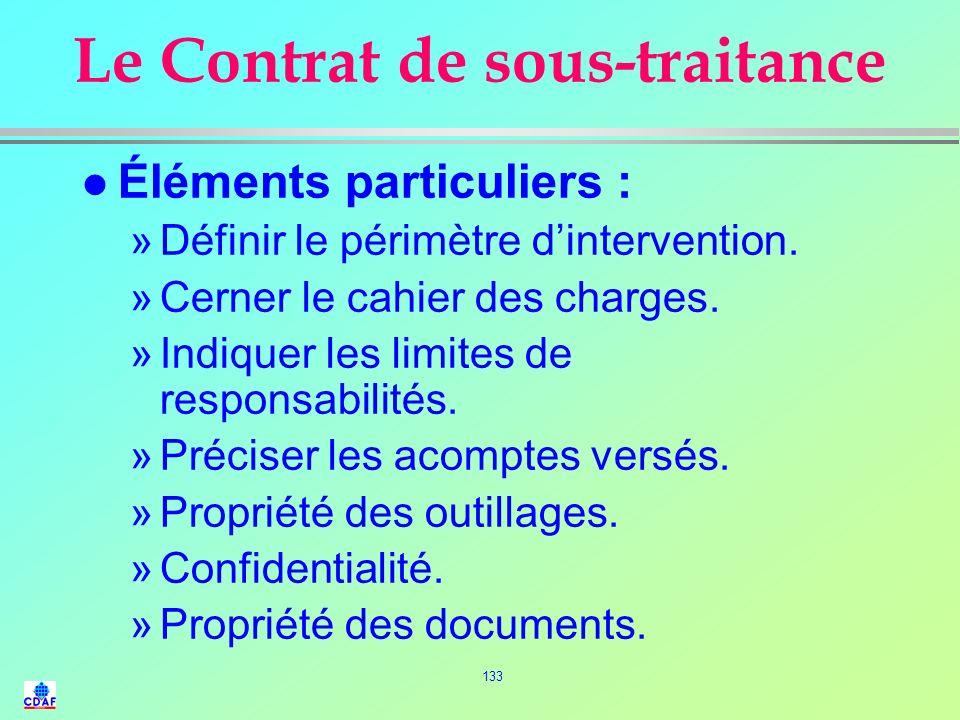 132 LA SOUS-TRAITANCE (4) l Différents types de sous-traitance : »Sous-traitance conjoncturelle de capacité, »Sous-traitance structurelle de métier ou