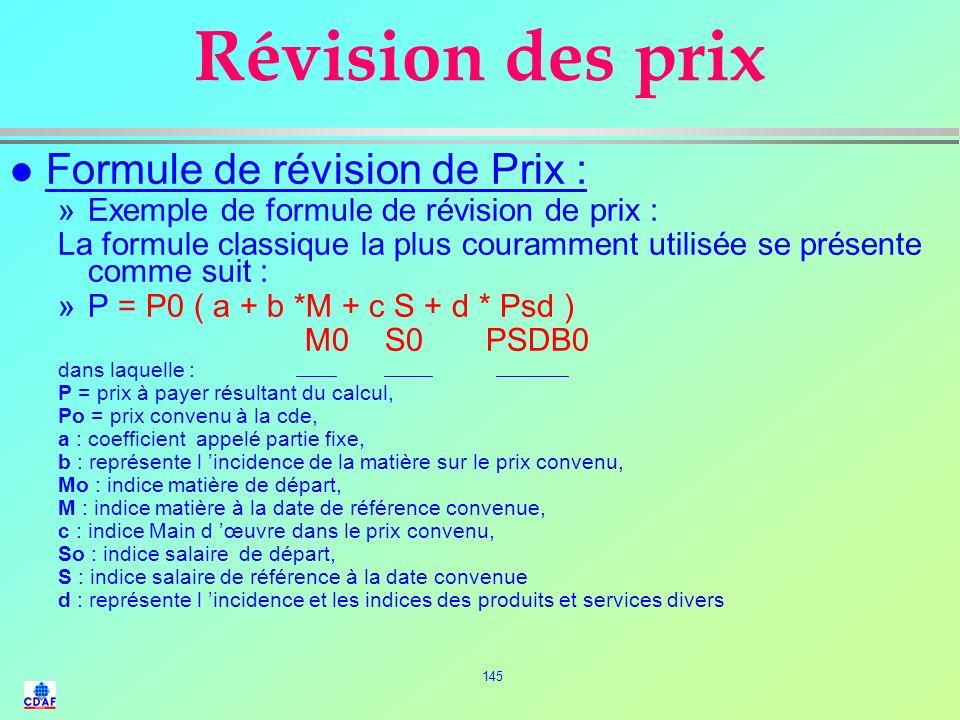 144 Fonctionnement de la formule de révision de Prix l Principe délaboration : Ces % sont des coefficients Les éléments de la formule M, S, Psd vont s