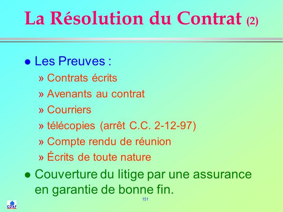 150 La Résolution du Contrat (1) l Le règlement des litiges : »de nature commercial ou financier »lié à un tiers l Causes possibles de litiges –mauvai