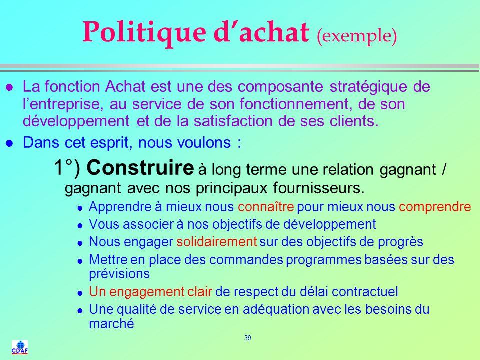 38 Enjeux et Missions de la fonction Achat l Cohérence avec la Politique générale de lentreprise l Détermination et conduite de la politique dachat l
