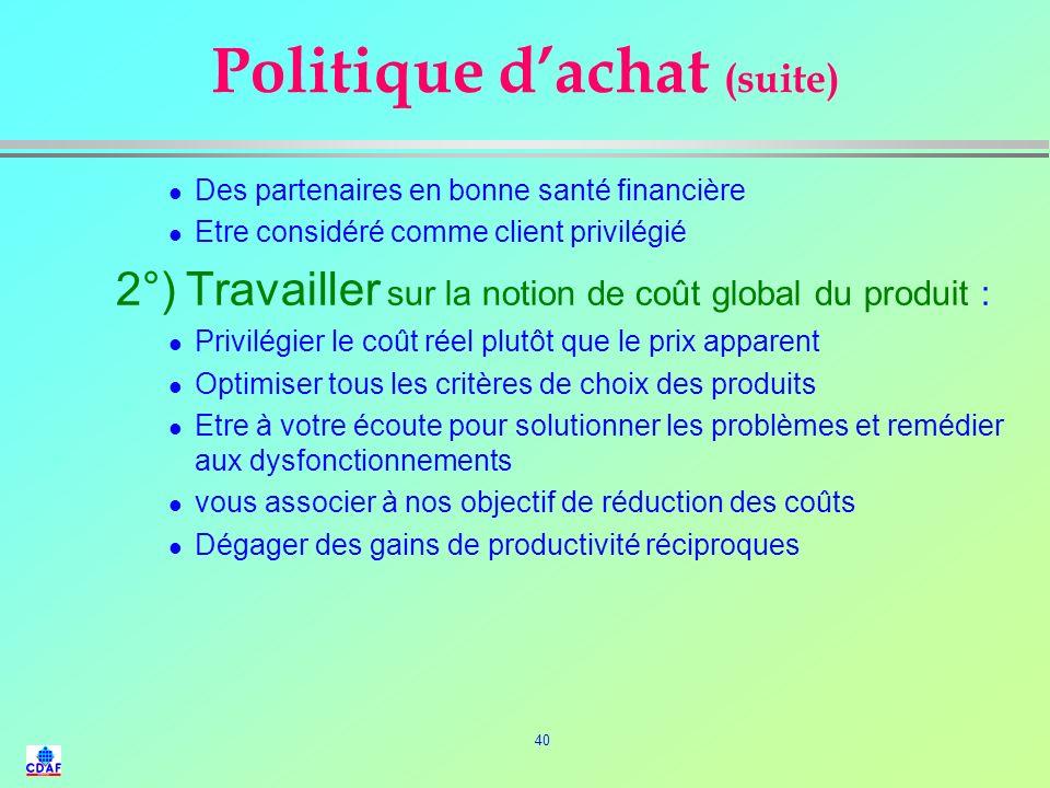 39 Politique dachat (exemple) l La fonction Achat est une des composante stratégique de lentreprise, au service de son fonctionnement, de son développ