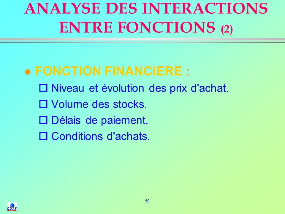 55 ANALYSE DES INTERACTIONS ENTRE FONCTIONS (1) l FONCTION COMMERCIALE : o Spécifications et normes des produits. o Typologie des clients. o Volume de