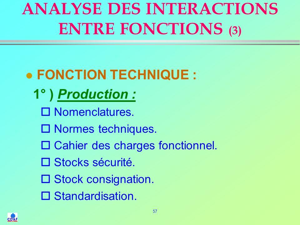 56 ANALYSE DES INTERACTIONS ENTRE FONCTIONS (2) l FONCTION FINANCIERE : o Niveau et évolution des prix d'achat. o Volume des stocks. o Délais de paiem