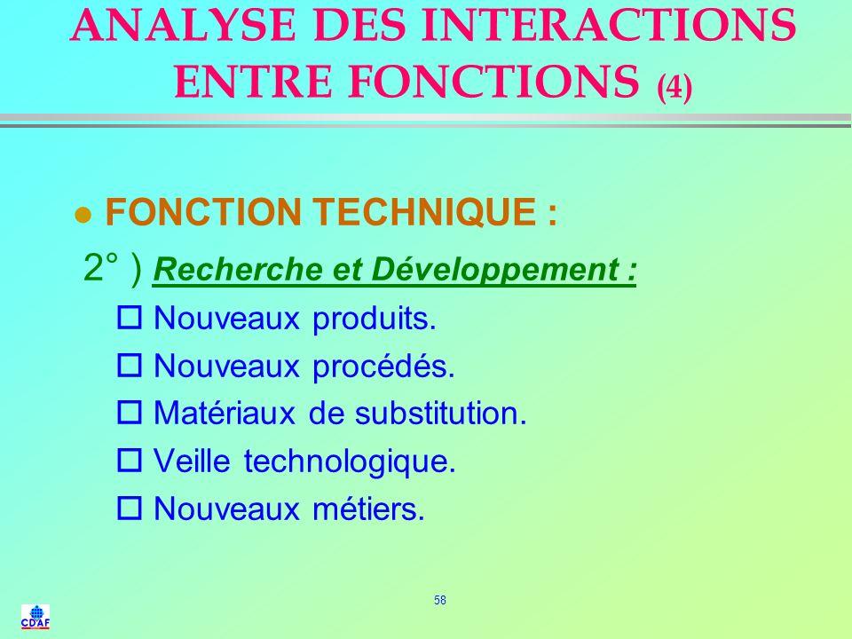 57 ANALYSE DES INTERACTIONS ENTRE FONCTIONS (3) l FONCTION TECHNIQUE : 1° ) Production : o Nomenclatures. o Normes techniques. o Cahier des charges fo