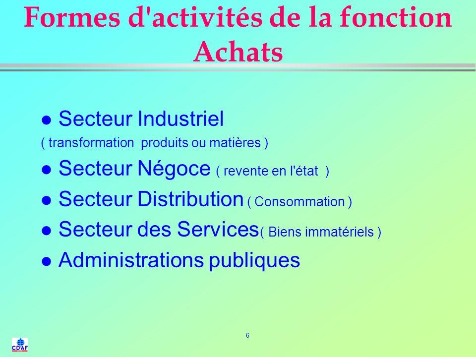 6 Formes d activités de la fonction Achats l Secteur Industriel ( transformation produits ou matières ) l Secteur Négoce ( revente en l état ) l Secteur Distribution ( Consommation ) l Secteur des Services ( Biens immatériels ) l Administrations publiques