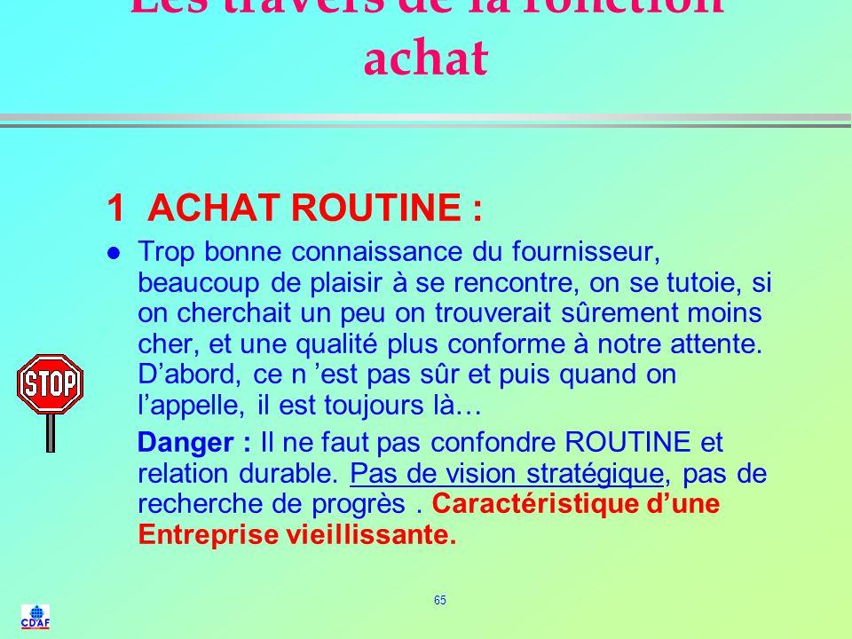 64 Relations Achats / Approvisionnements (4) l Ce partage de responsabilité nest pas que formel, il correspond à des méthodes et des outils de travail