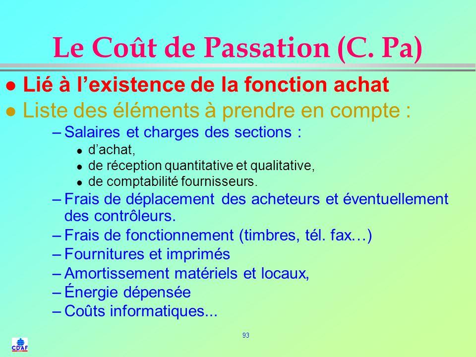 92 Coûts d'approvisionnements l P. U. R. H. T : P. A + Transport + emballage + assurance l P. A. R. : P. A. + Transport +emballage + assurance + taxes