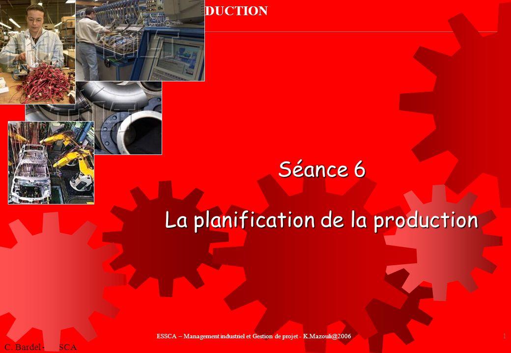 LA PLANIFICATION DE LA PRODUCTION C.Bardel - ESSCA 2 Introduction I.