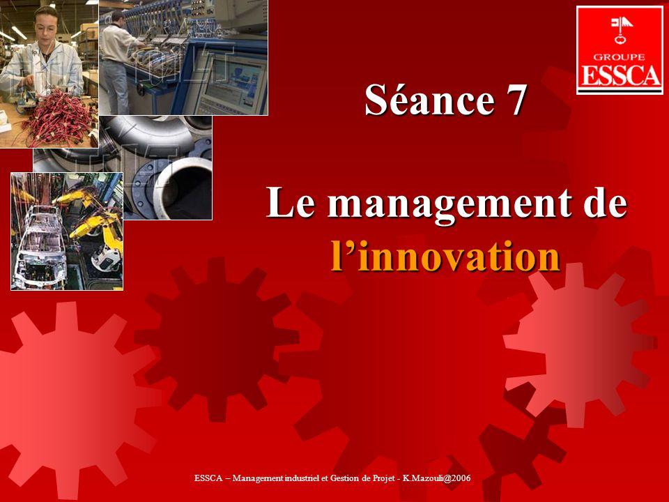 Séance 7 Le management de linnovation ESSCA – Management industriel et Gestion de Projet - K.Mazouli@2006