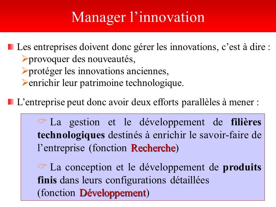 Les entreprises doivent donc gérer les innovations, cest à dire : provoquer des nouveautés, protéger les innovations anciennes, enrichir leur patrimoi