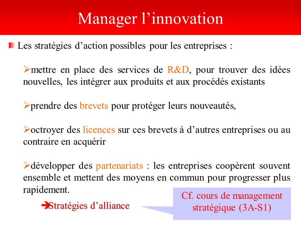 Manager linnovation Les stratégies daction possibles pour les entreprises : mettre en place des services de R&D, pour trouver des idées nouvelles, les