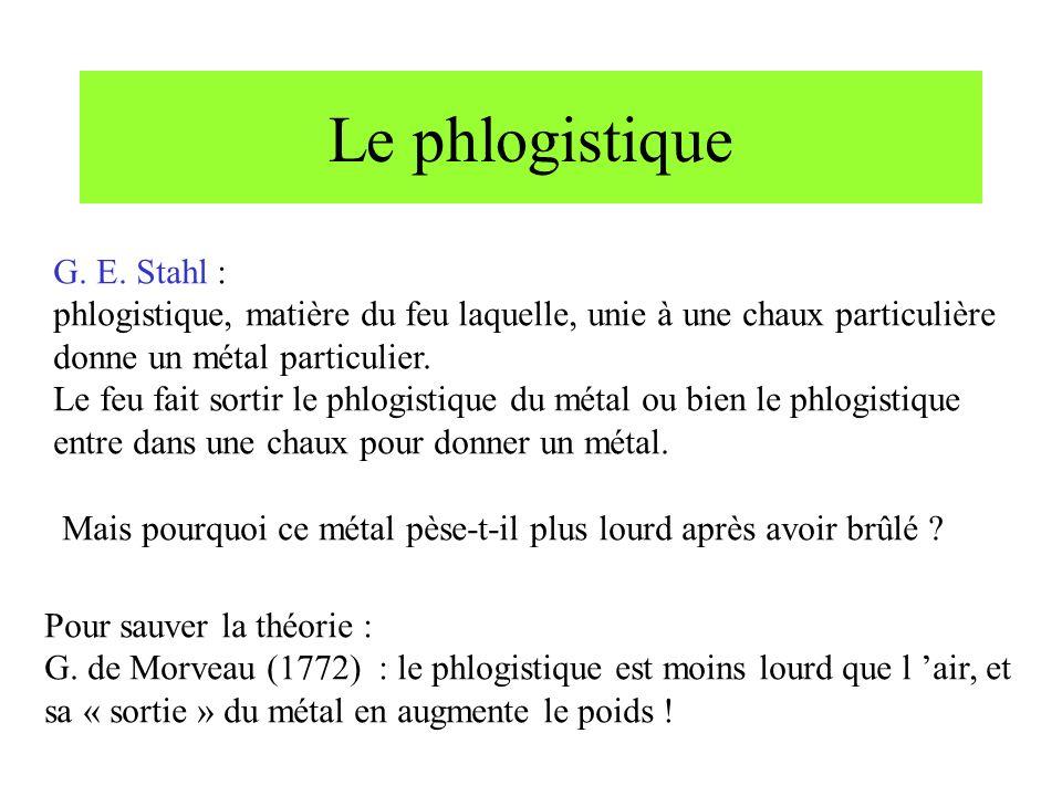 Le phlogistique G. E. Stahl : phlogistique, matière du feu laquelle, unie à une chaux particulière donne un métal particulier. Le feu fait sortir le p