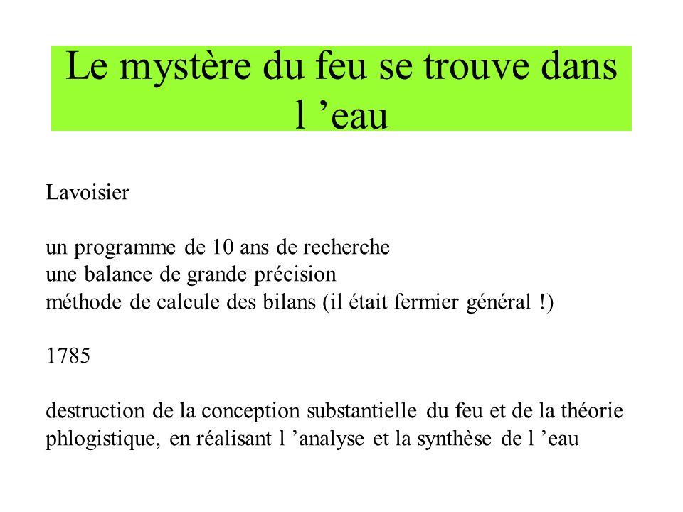 Le mystère du feu se trouve dans l eau Lavoisier un programme de 10 ans de recherche une balance de grande précision méthode de calcule des bilans (il