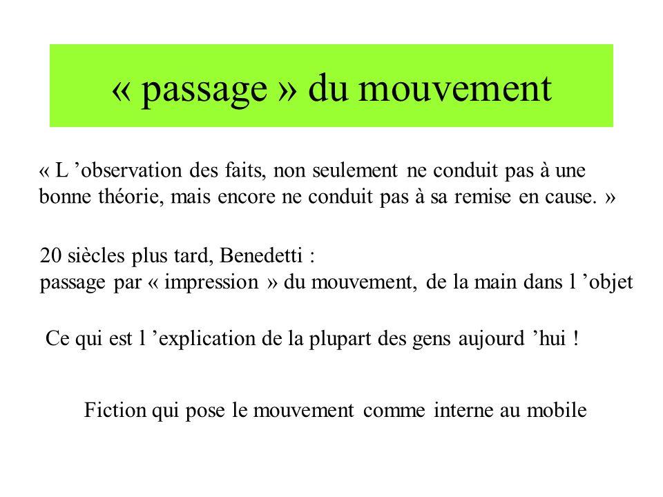 « passage » du mouvement « L observation des faits, non seulement ne conduit pas à une bonne théorie, mais encore ne conduit pas à sa remise en cause.