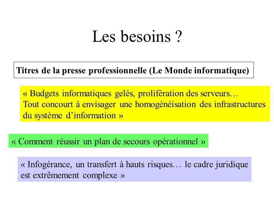 Besoins (suite) « DESS, jouez la carte de la multicompétence, Panorama de ces DESS en prise directe avec les réalités du marché » « Les droits du salarié externalisé » « Les méthodes formelles sonnent-elles le glas des tests unitaires .