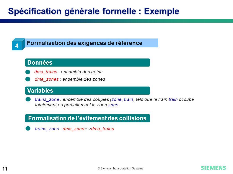 © Siemens Transportation Systems 11 Spécification générale formelle : Exemple 4 Formalisation des exigences de référence dma_trains : ensemble des tra