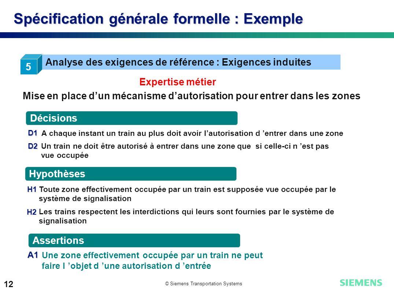 © Siemens Transportation Systems 12 Spécification générale formelle : Exemple 5 Analyse des exigences de référence : Exigences induites Décisions Hypo