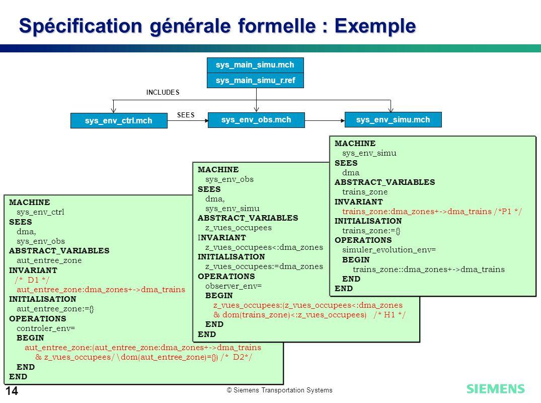 © Siemens Transportation Systems 14 Spécification générale formelle : Exemple sys_main_simu.mch sys_main_simu_r.ref sys_env_simu.mch sys_env_ctrl.mch