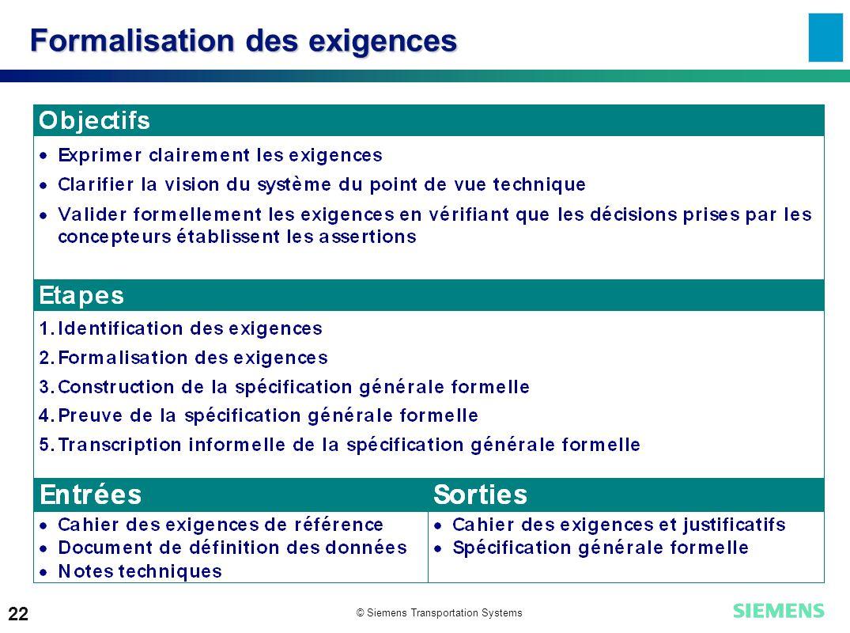 © Siemens Transportation Systems 22 Formalisation des exigences