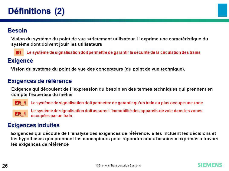 © Siemens Transportation Systems 25 Définitions (2) Besoin Vision du système du point de vue strictement utilisateur. Il exprime une caractéristique d