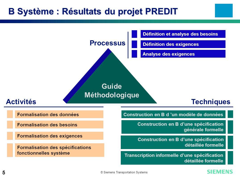© Siemens Transportation Systems 5 B Système : Résultats du projet PREDIT Processus ActivitésTechniques Guide Méthodologique Définition et analyse des