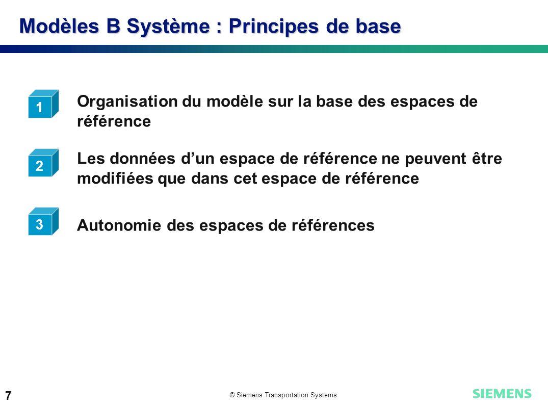 © Siemens Transportation Systems 7 Modèles B Système : Principes de base Organisation du modèle sur la base des espaces de référence Autonomie des esp