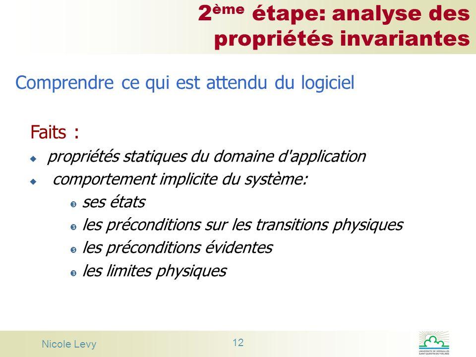 Nicole Levy 12 2 ème étape: analyse des propriétés invariantes Comprendre ce qui est attendu du logiciel Faits : u propriétés statiques du domaine d'a