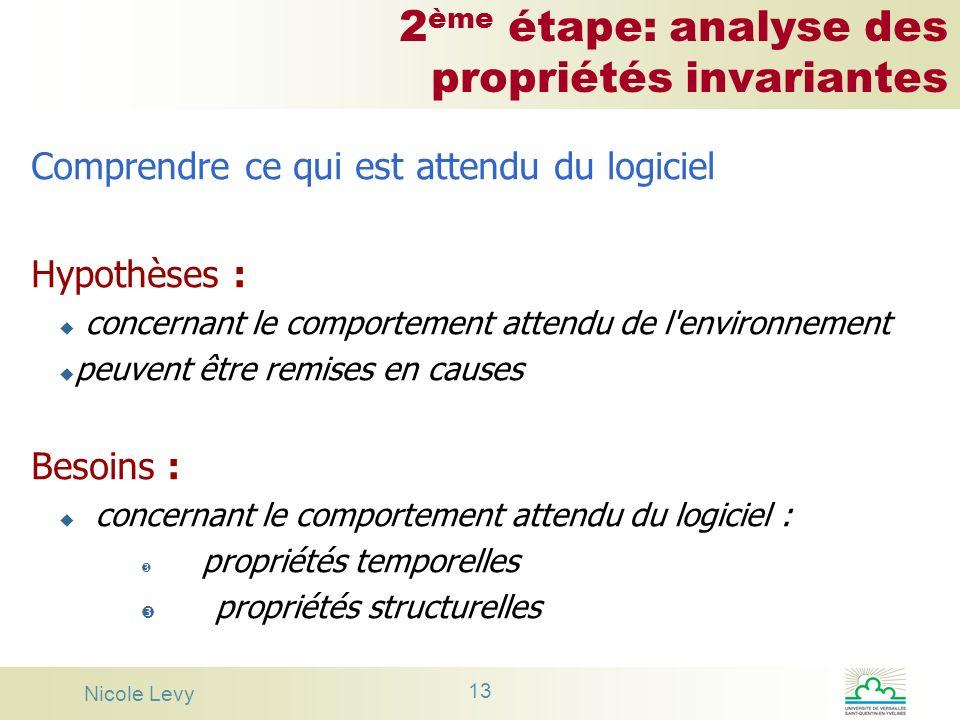 Nicole Levy 13 2 ème étape: analyse des propriétés invariantes Comprendre ce qui est attendu du logiciel Hypothèses : u concernant le comportement att