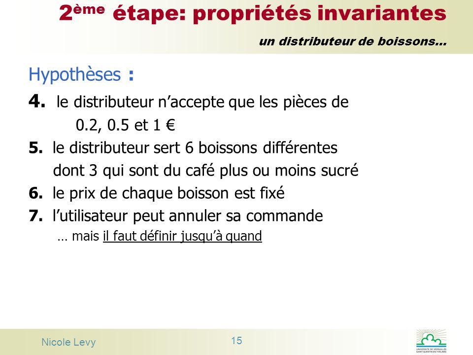 Nicole Levy 15 2 ème étape: propriétés invariantes un distributeur de boissons... Hypothèses : 4. le distributeur naccepte que les pièces de 0.2, 0.5