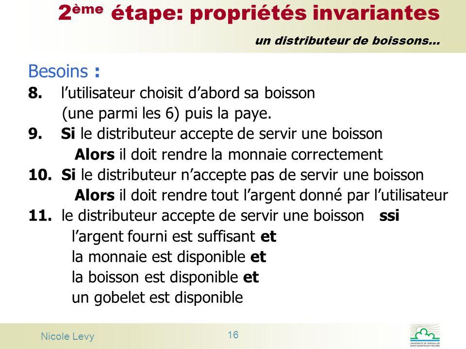 Nicole Levy 16 2 ème étape: propriétés invariantes un distributeur de boissons... Besoins : 8. lutilisateur choisit dabord sa boisson (une parmi les 6
