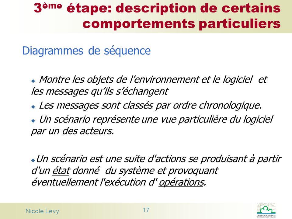 Nicole Levy 17 3 ème étape: description de certains comportements particuliers Diagrammes de séquence u Montre les objets de lenvironnement et le logi