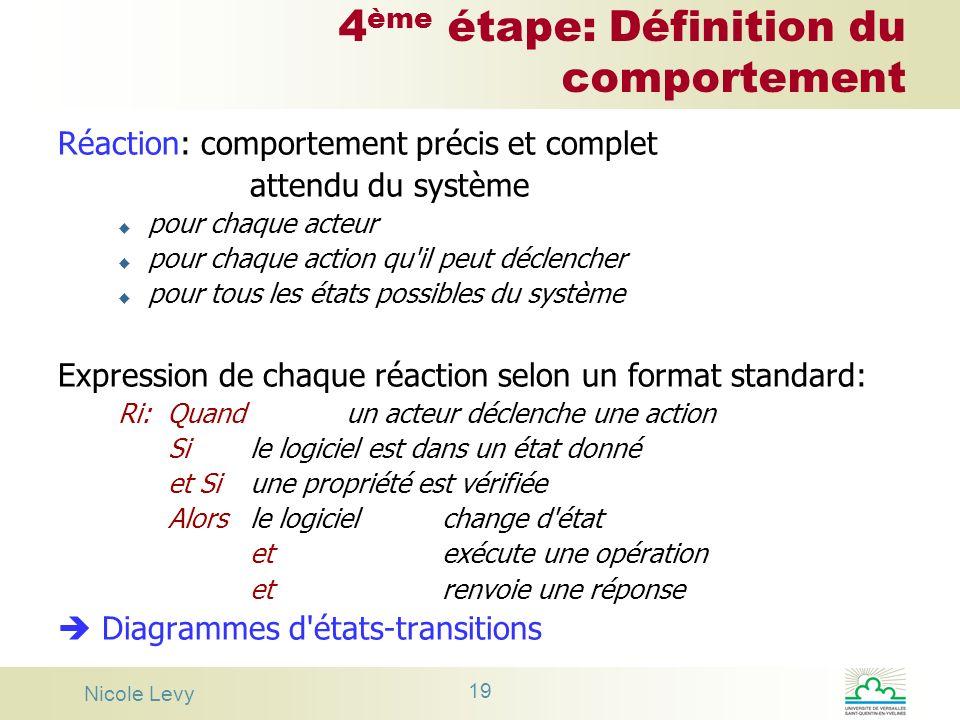 Nicole Levy 19 4 ème étape: Définition du comportement Réaction: comportement précis et complet attendu du système u pour chaque acteur u pour chaque