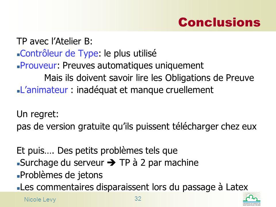 Nicole Levy 32 Conclusions TP avec lAtelier B: n Contrôleur de Type: le plus utilisé n Prouveur: Preuves automatiques uniquement Mais ils doivent savo
