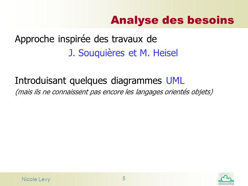 Nicole Levy 5 Analyse des besoins Approche inspirée des travaux de J. Souquières et M. Heisel Introduisant quelques diagrammes UML (mais ils ne connai