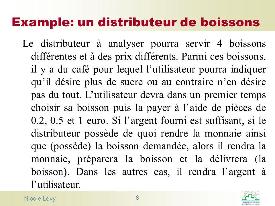 Nicole Levy 8 Example: un distributeur de boissons Le distributeur à analyser pourra servir 4 boissons différentes et à des prix différents. Parmi ces