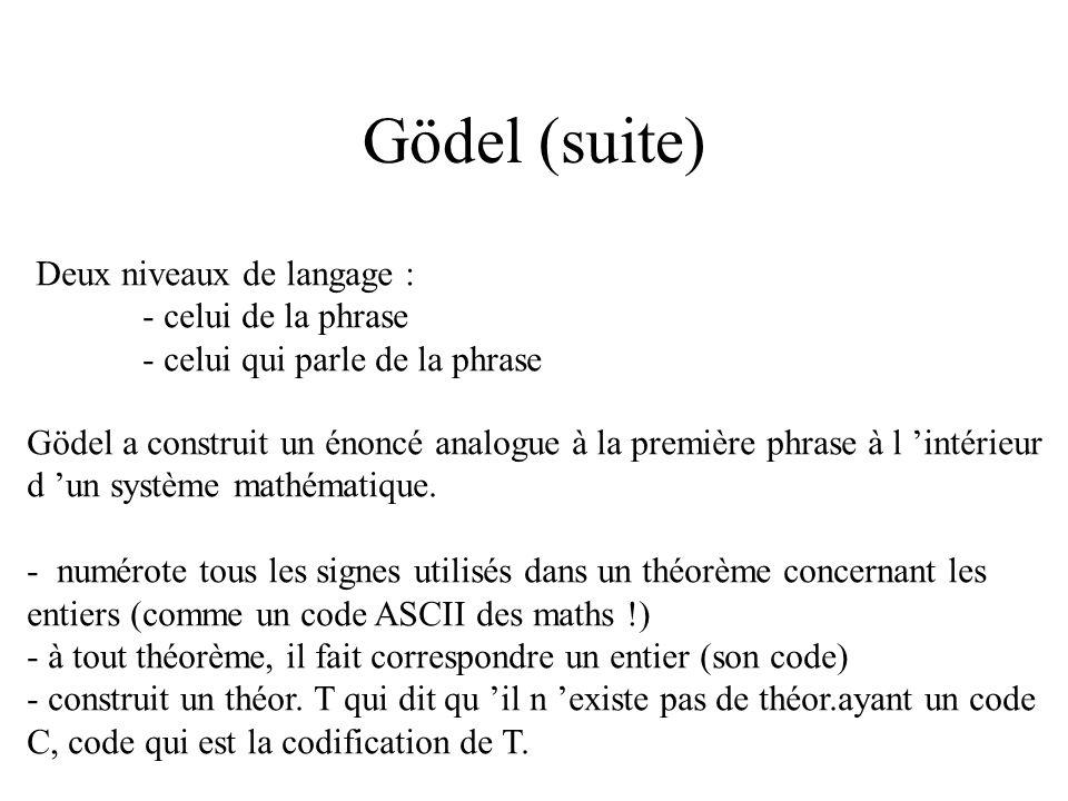 Idée de Gödel Idée de base : l autoréférence, voir Hoffstadter : Gödel, Escher, Bach Cette phrase est fausse. - si elle est vraie, alors ce qu elle di