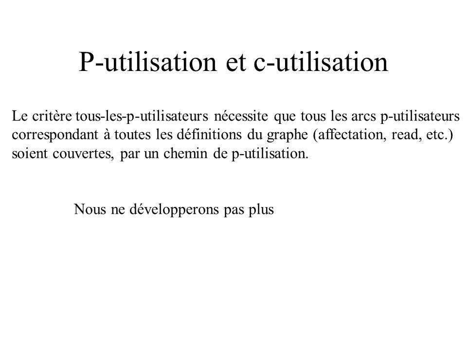 C-utilisation et p-utilisation Chemin d utilisation (c-utilisation ou p-utilisation) : chemin reliant l instruction de définition d une variable à une