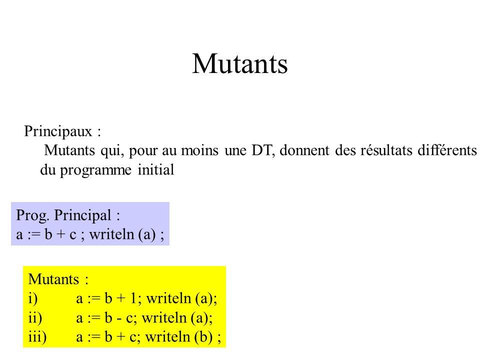 Test mutationnels Sélection du meilleur mécanicien parmi 10 candidats On présente à chaque candidat (DT) différentes pannes (mutants) que l on a volon